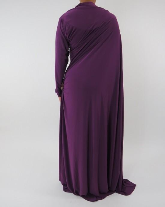 Amani's Jersey Purple Saree Style Abaya UK - Abayas - SareeAbaya002