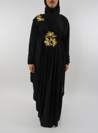 Amani's Jersey Stretch Black and Gold Abaya UK Style