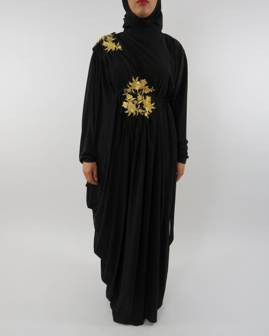 Amani's Jersey Stretch Black and Gold Abaya UK Style - Abayas - Abaya102