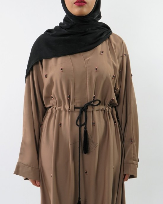 Amani's Stylish Light Brown Beaded Abaya Style UK - Abayas - Abaya064