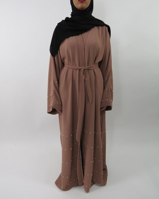 Amani's Light Brown Designer Open Abaya Style With Pearls UK - Abayas - Abaya020