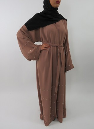 Amani's Light Brown Designer Open Abaya Style With Pearls UK