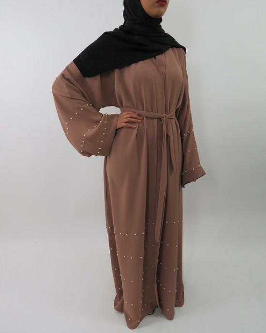 Amani's Light Brown Designer Open Abaya Style With Pearls UK - Abayas - Abaya020