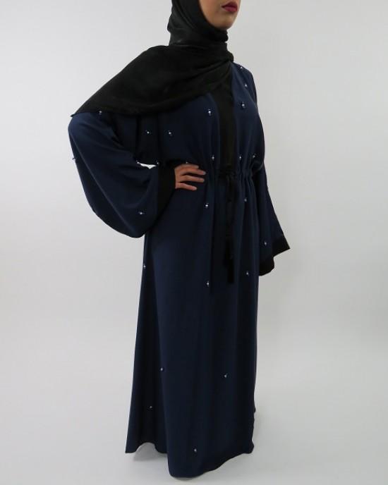 Amani's Stylish Navy Blue Beaded Abaya Style UK - Abayas - Abaya061