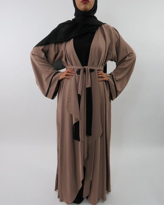 Amani's Silky Lightweight Neda Open Abaya Jacket Style UK - Abayas - Abaya016