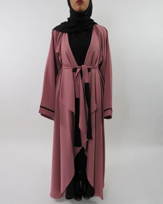 Amani's Silky Lightweight Neda Open Abaya Jacket Style UK - Abayas - Abaya017
