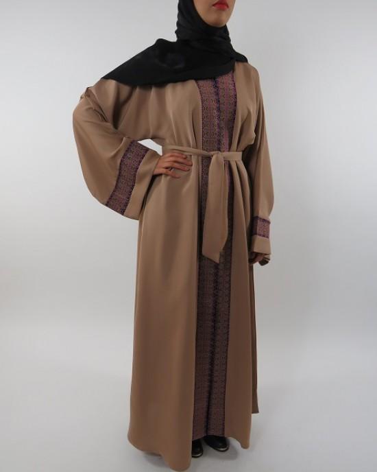 Amani's Light Brown Open Abaya Style UK - Abayas - Abaya113