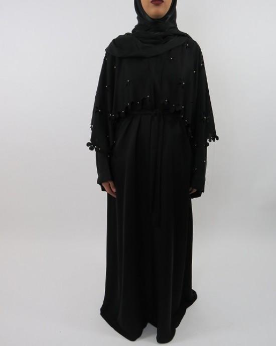 Amani's Open Abaya With Beads Style UK - Abayas - Abaya087