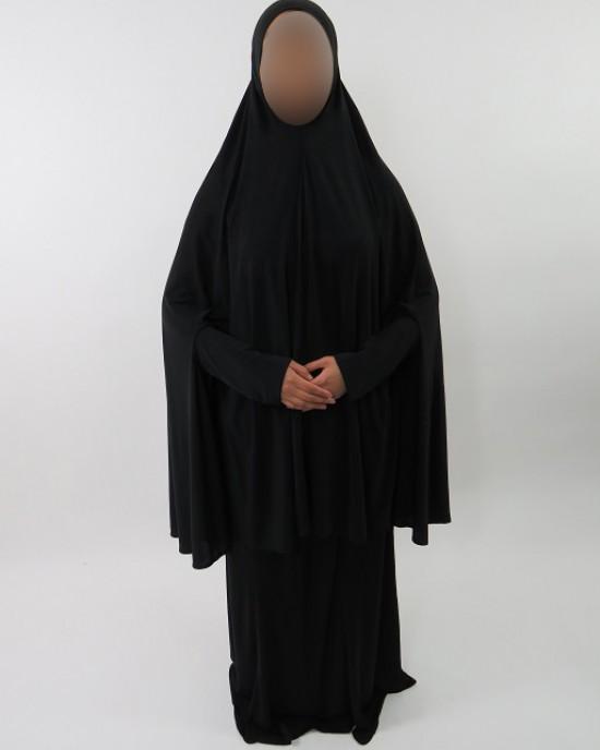 Amani's Plain Black Jersey Stretch 2 Piece Jilbab – Burka – Burqa UK OverHead Abaya Style - Burqa - Jilbabs - Burka - JerseyJilbab003