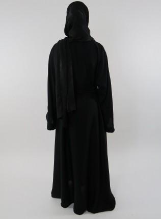 Amani's Plain Black Open Neda Abaya With Belt Style UK