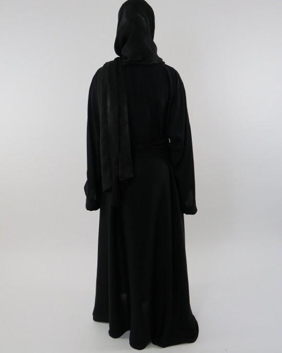 Amani's Plain Black Open Neda Abaya With Belt Style UK - Abayas - Abaya121