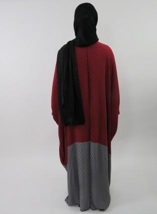 Amani's Red and Grey Full Pleated Open Farasha Abaya Stye UK
