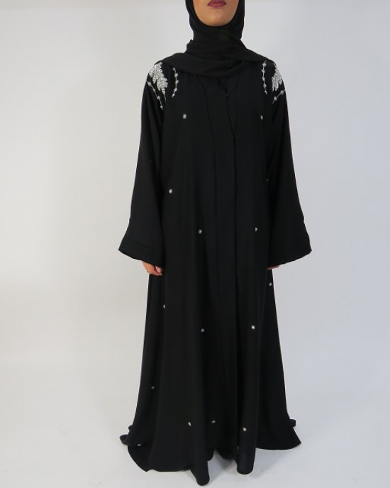 Amani's Silver and Black Occasion Open Abaya Style UK - Abayas - Abaya001