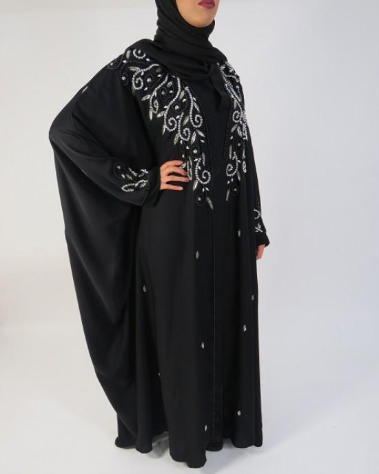 Amani's Silver and Black Occasion Farasha Open Abaya Style UK - Abayas - Abaya013