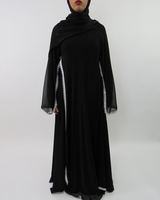 Amani's White Border with Chiffon Overlay Abaya Style UK - Abayas - Abaya053