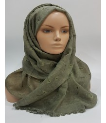Amani's – Army Green Daisy Scarf – Hijab Style UK With Embossed Daisies