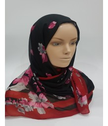 Amani's Black And Red Floral Scarf – Hijab Style UK Polyester Chiffon