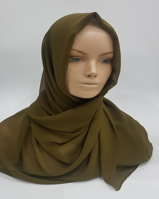 Amani's Lightweight Army Green Georgette Scarf Crepe – Hijab Style UK - Everyday Hijabs - Hijab045