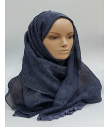 Amani's – Pepple Grey Daisy Scarf – Hijab Style UK With Embossed Daisies