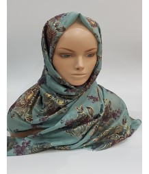 Amani's – Seafoam Floral Scarf – Hijab Style UK Mettalic Gold Foil Details