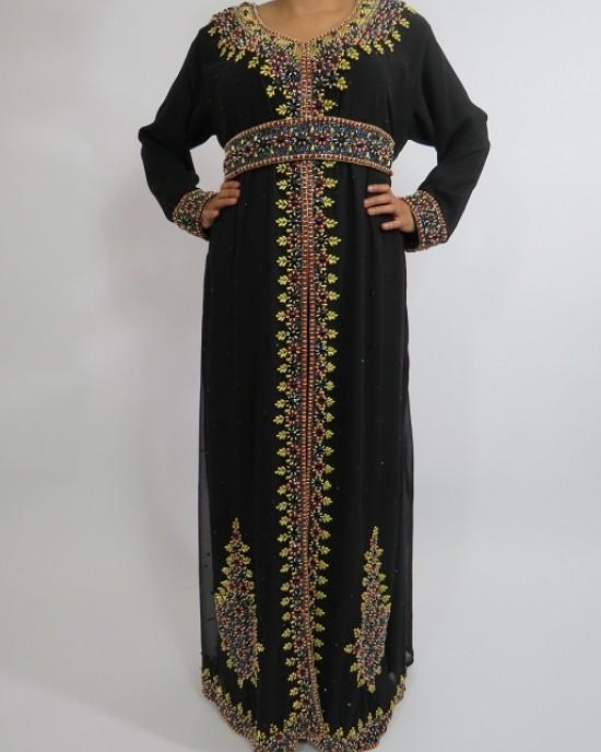 Amani's Long Sleeve Black Moroccan Occasion Kaftan – Caftan Maxi Dress Styles UK - Occasion Kaftans - Kaftan034