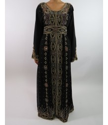 1ab2c955cd0a Amani's Black Long Sleeve Moroccan Occasion Kaftan Maxi Dress Style UK
