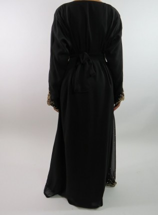 Amani's Black Long Sleeve Moroccan Occasion Kaftan Maxi Dress Style UK