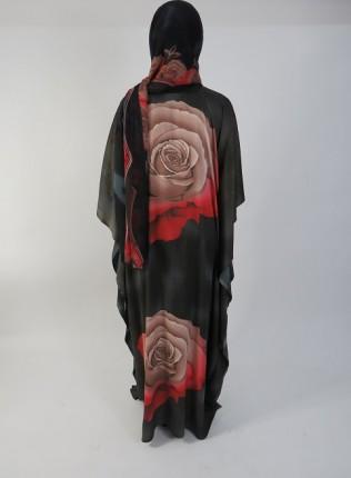 Amani's Black and Brown Rose Everyday Kaftan – Maxi Dress UK