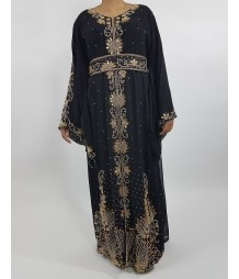 20679fd63fdf Amani's Black and Gold Long Sleeve Occasion Kaftan Maxi Dress Style UK