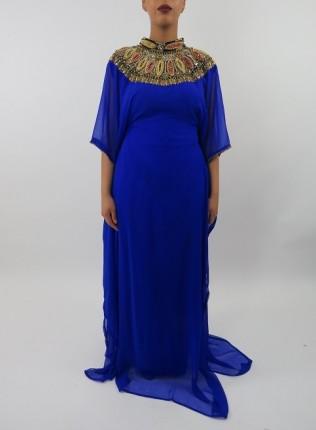 Amani's Blue Short Sleeve Occasion Kaftan – Maxi Dress Style UK