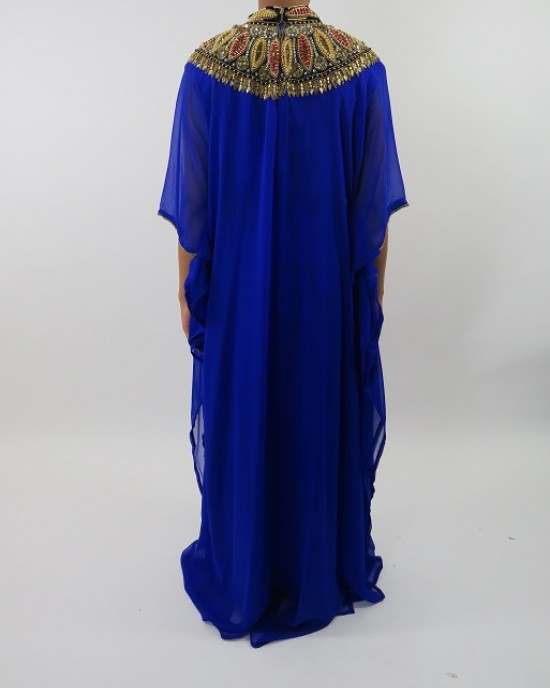 Amani's Blue Short Sleeve Occasion Kaftan – Maxi Dress Style UK - Occasion Kaftans - Kaftan015