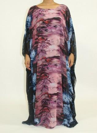 Amani's Blue and Purple Everyday Kaftan Maxi Dress Style UK