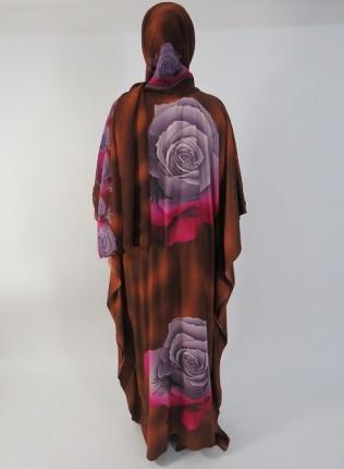 Amani's Brown and Grey Rose Everyday Kaftan Maxi Dress UK