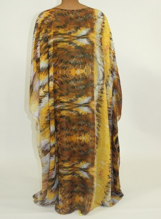 Amani's Brown and Yellow Everyday Kaftan Maxi Dress Style UK