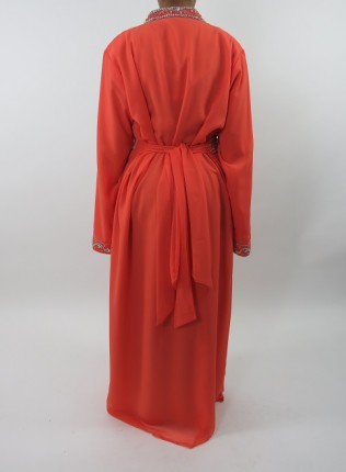 Amani's Coral Long Sleeve Occasion Kaftan – Maxi Dress Style UK