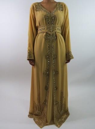 Amani's Gold Long Sleeve Occasion Kaftan Maxi Dress Style UK