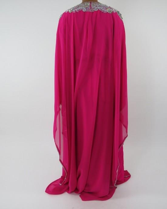 Amani's Pink Long Sleeve Occasion Maxi Dress Moroccan Caftan – Kaftan Style UK - Occasion Kaftans - Kaftan047