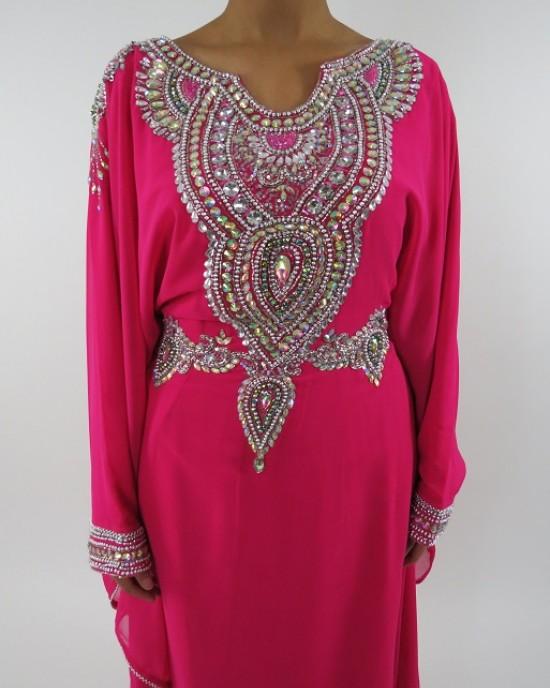Amani's Pink Long Sleeve Occasion Maxi Dress Moroccan Caftan – Kaftan Style UK - Occasion Kaftans - Kaftan056