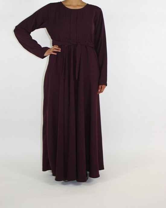 Amani's A-line Long Sleeve Maxi Dress With Pleats Style UK - Long Sleeve Maxi Dresses - MaxiDress043