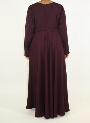 Amani's A-line Long Sleeve Maxi Dress With Pleats Style UK