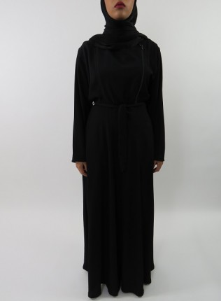 Amani's Collared Black Long Sleeve Maxi Dress With Biker Style Zip Style UK