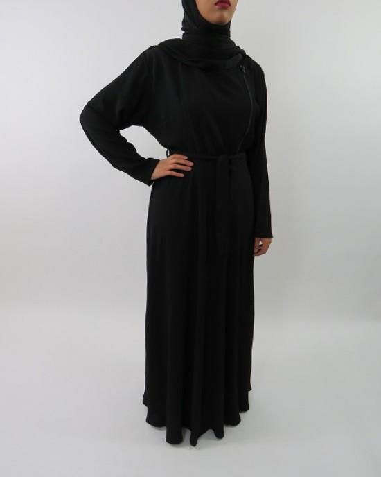 Amani's Collared Black Long Sleeve Maxi Dress With Biker Style Zip Style UK - Long Sleeve Maxi Dresses - MaxiDress028