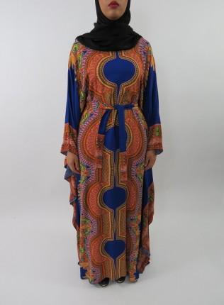 Amani's Blue Soft Cotton Kaftan Style Maxi Dress UK