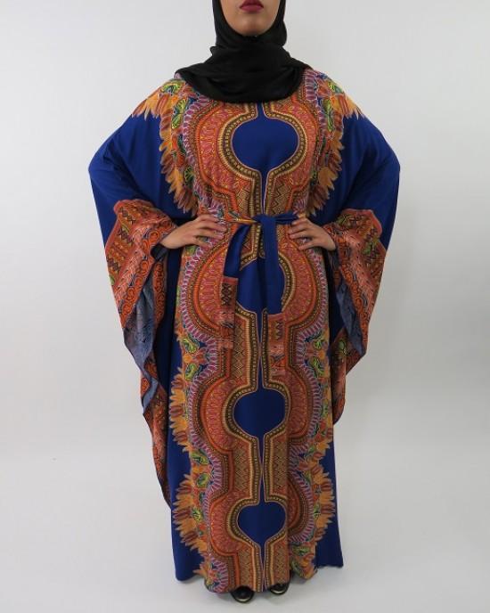 Amani's Blue Soft Cotton Kaftan Style Maxi Dress UK - CLEARANCE - MaxiDress031
