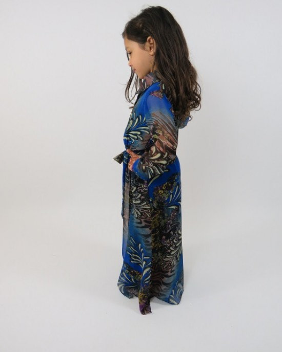 Amani's Blue Long Sleeve Kids Maxi Dress Style UK - Childrens Dresses - KidsDress006
