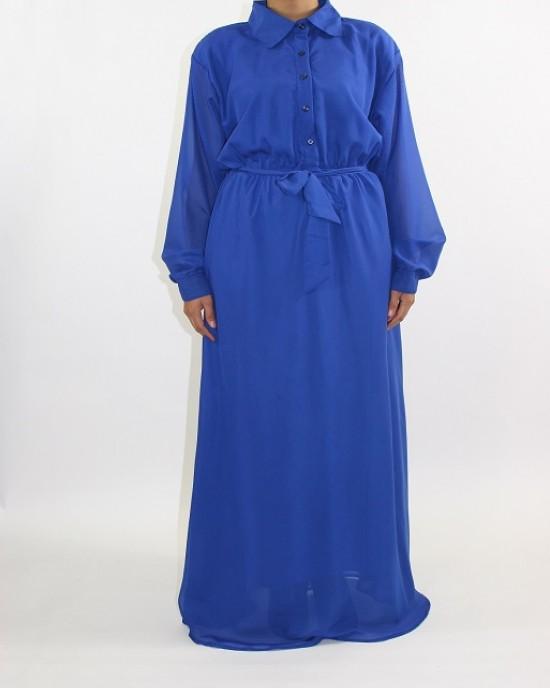 Amani's Blue Long Sleeve Maxi Dress Style UK - CLEARANCE - MaxiDress044