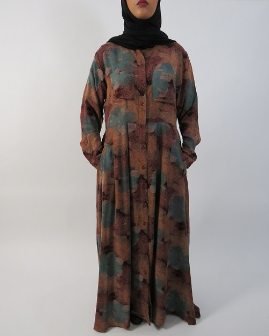 Amani's – Brown Long Sleeve Open Maxi Dress Style UK - Long Sleeve Maxi Dresses - MaxiDress001