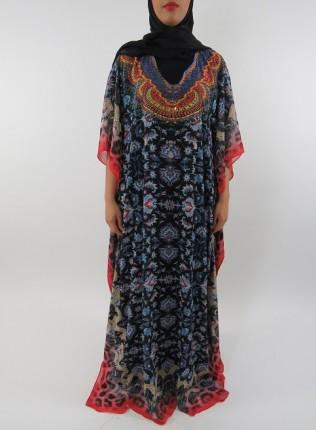 Amani's Chiffon Short Sleeve Maxi Dress With Inner Black Jersey Dress