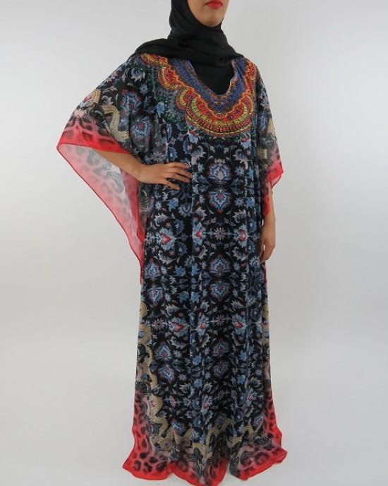 Amani's Chiffon Short Sleeve Maxi Dress With Inner Black Jersey Dress - Long Sleeve Maxi Dresses - ChiffonDress001