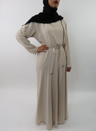 Amani's Collared Cream Long Sleeve Maxi Dress With Biker Style Zip UK